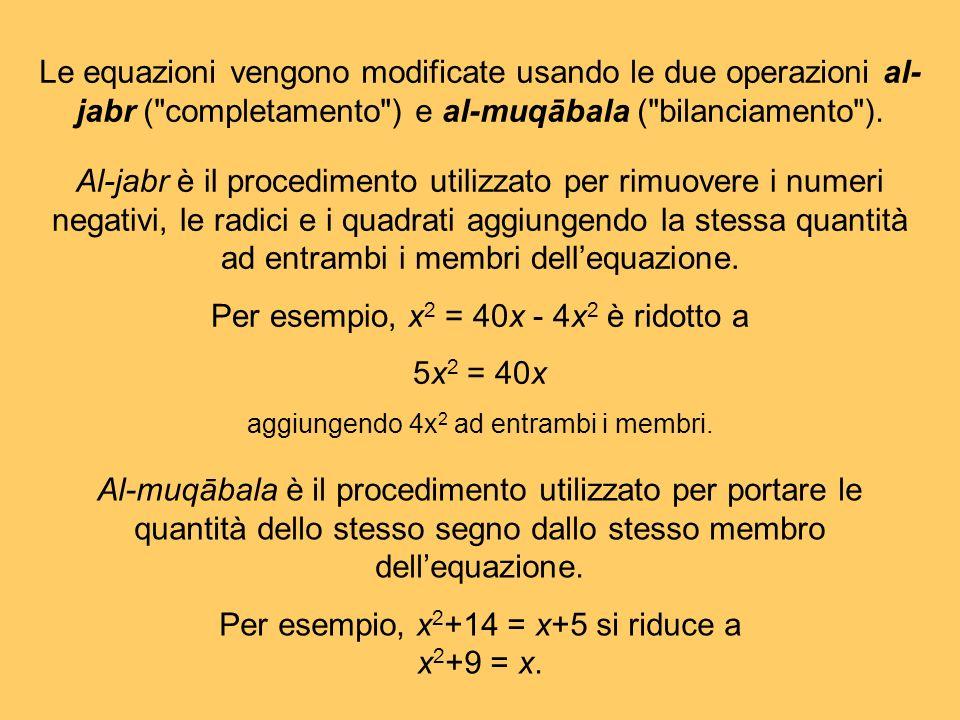 Per esempio, x2 = 40x - 4x2 è ridotto a 5x2 = 40x