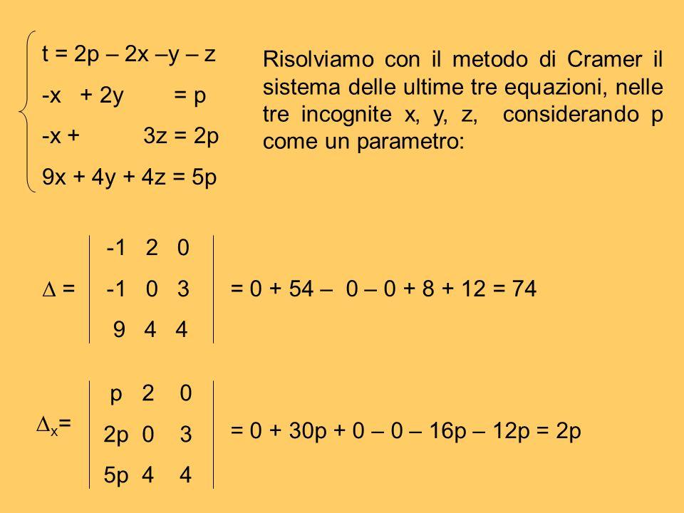 t = 2p – 2x –y – z -x + 2y = p. -x + 3z = 2p. 9x + 4y + 4z = 5p.