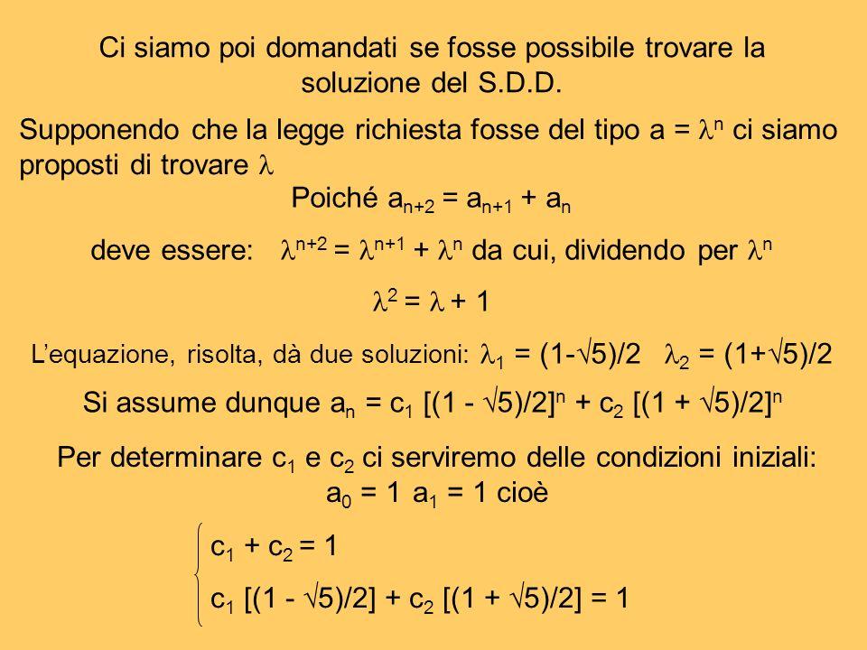 deve essere: n+2 = n+1 + n da cui, dividendo per n 2 =  + 1