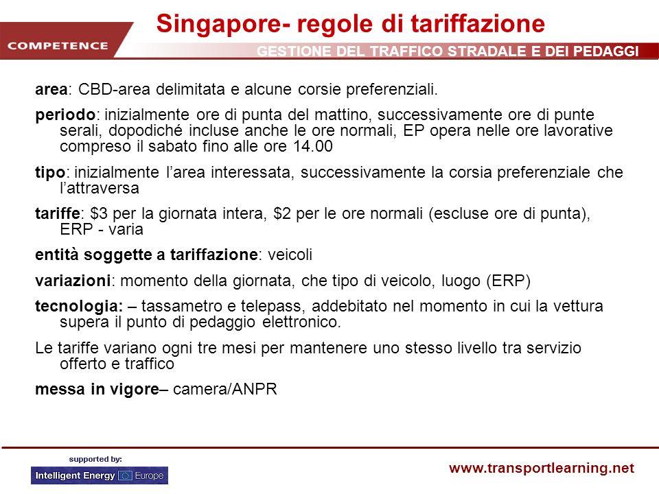 Singapore- regole di tariffazione