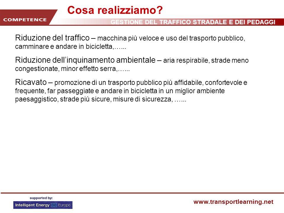 Cosa realizziamo Riduzione del traffico – macchina più veloce e uso del trasporto pubblico, camminare e andare in bicicletta,…...