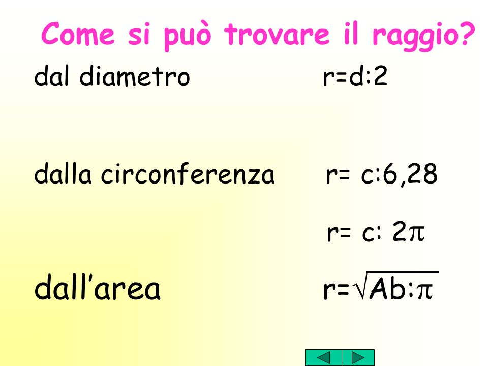 dall'area r=Ab:p Come si può trovare il raggio dal diametro r=d:2