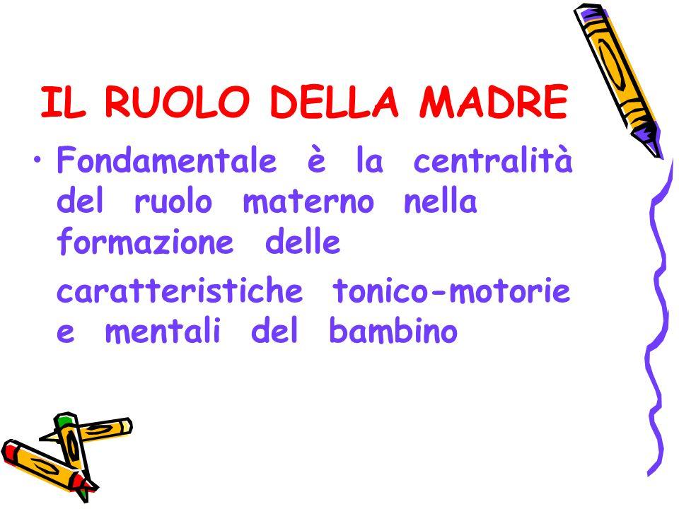 IL RUOLO DELLA MADRE Fondamentale è la centralità del ruolo materno nella formazione delle.