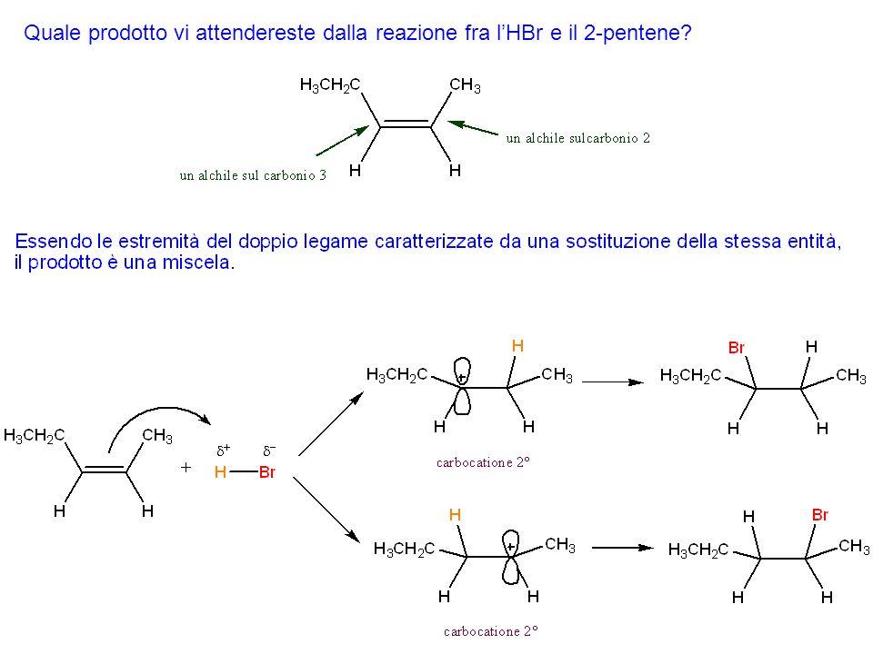 Quale prodotto vi attendereste dalla reazione fra l'HBr e il 2-pentene