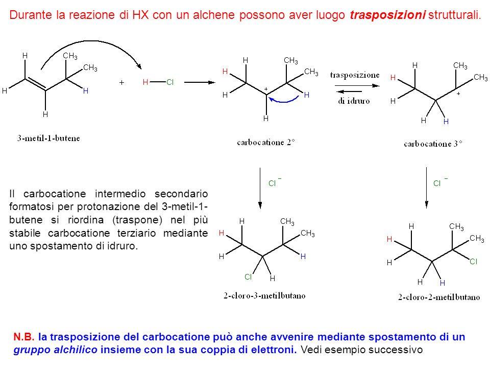 Durante la reazione di HX con un alchene possono aver luogo trasposizioni strutturali.