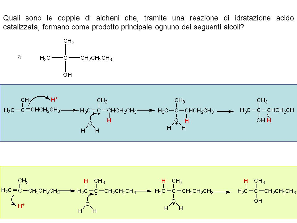 Quali sono le coppie di alcheni che, tramite una reazione di idratazione acido catalizzata, formano come prodotto principale ognuno dei seguenti alcoli