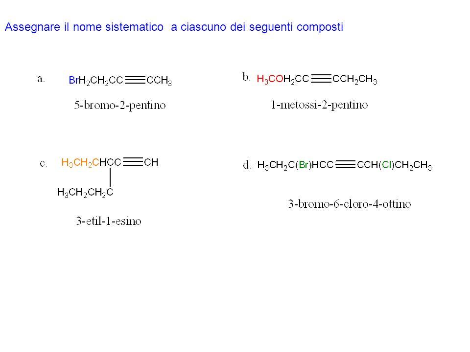 Assegnare il nome sistematico a ciascuno dei seguenti composti