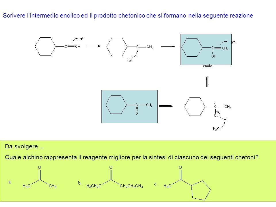 Scrivere l'intermedio enolico ed il prodotto chetonico che si formano nella seguente reazione