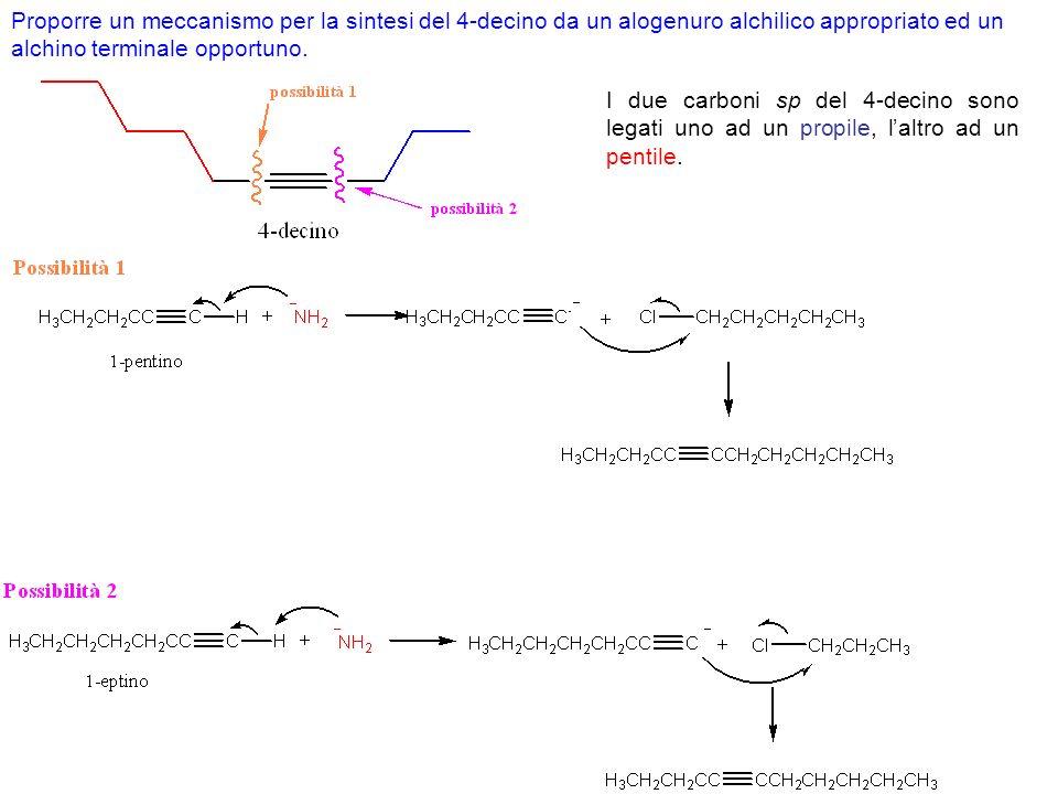 Proporre un meccanismo per la sintesi del 4-decino da un alogenuro alchilico appropriato ed un alchino terminale opportuno.