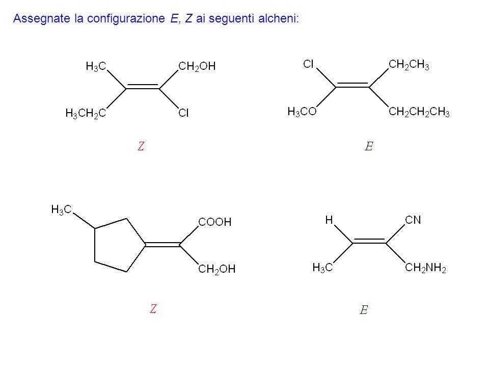 Assegnate la configurazione E, Z ai seguenti alcheni: