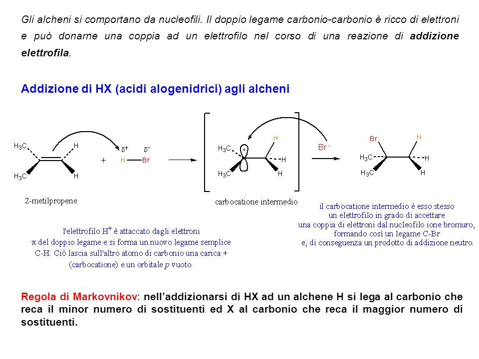 Addizione di HX (acidi alogenidrici) agli alcheni