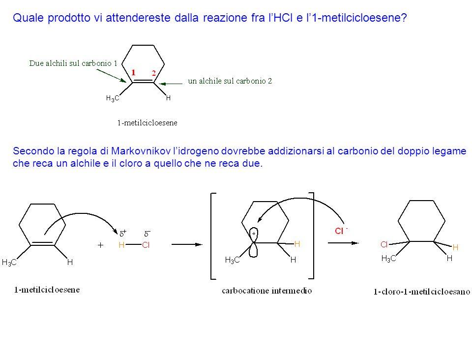 Quale prodotto vi attendereste dalla reazione fra l'HCl e l'1-metilcicloesene