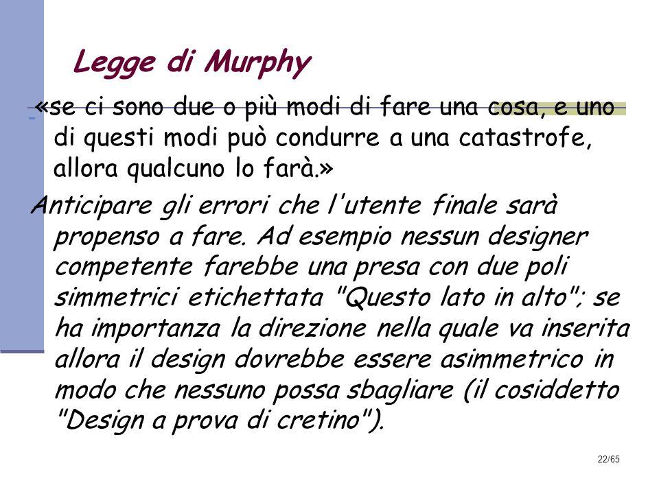 Legge di Murphy«se ci sono due o più modi di fare una cosa, e uno di questi modi può condurre a una catastrofe, allora qualcuno lo farà.»