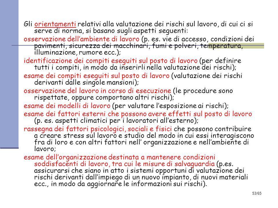 Gli orientamenti relativi alla valutazione dei rischi sul lavoro, di cui ci si serve di norma, si basano sugli aspetti seguenti: