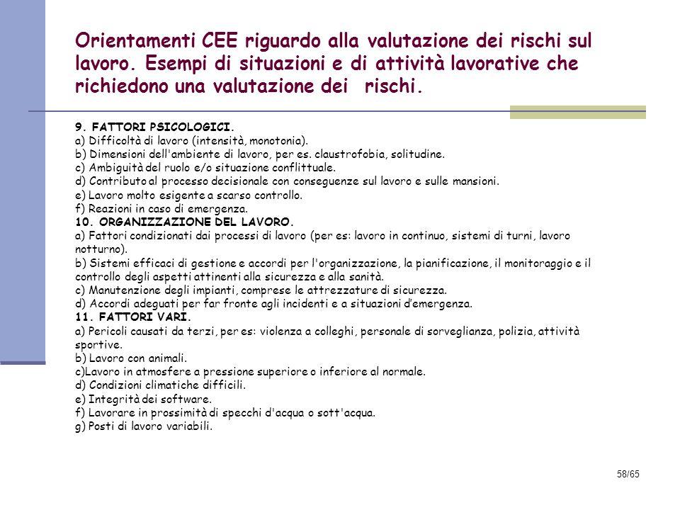 Orientamenti CEE riguardo alla valutazione dei rischi sul lavoro