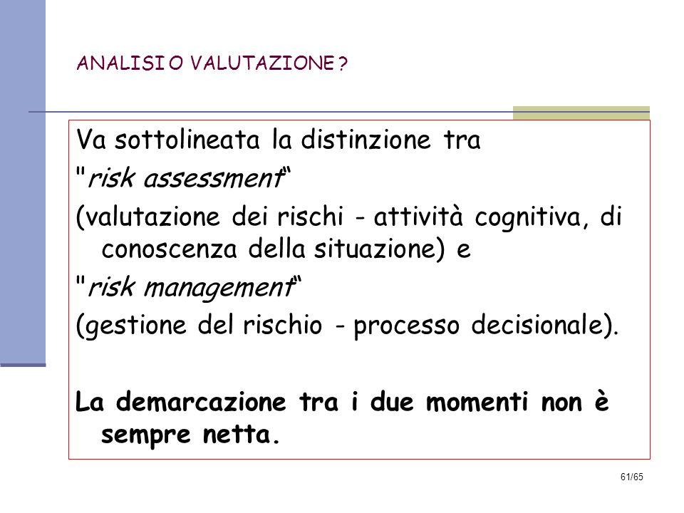 Va sottolineata la distinzione tra risk assessment