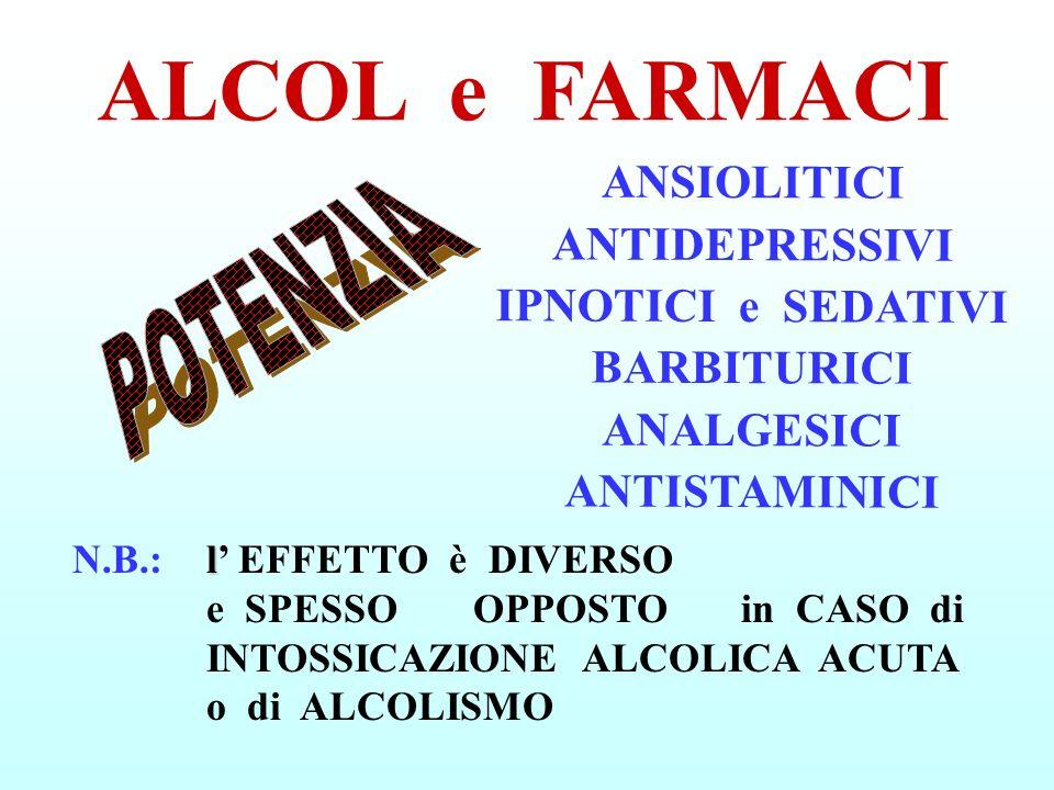 ALCOL e FARMACI ANSIOLITICI ANTIDEPRESSIVI IPNOTICI e SEDATIVI BARBITURICI ANALGESICI ANTISTAMINICI.