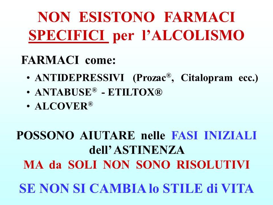 NON ESISTONO FARMACI SPECIFICI per l'ALCOLISMO