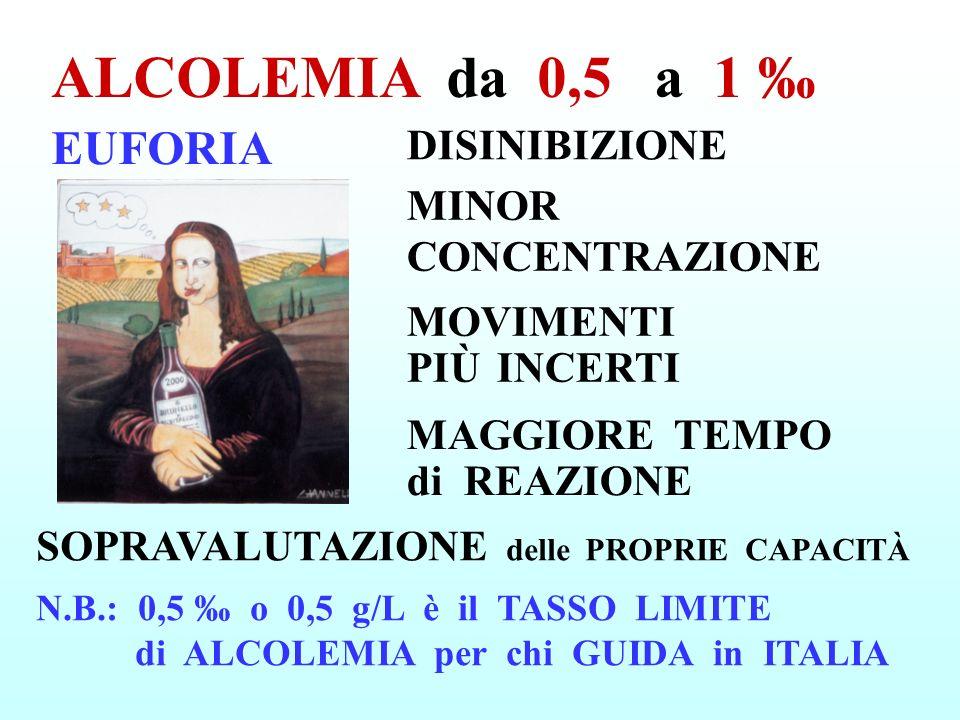 ALCOLEMIA da 0,5 a 1 ‰ EUFORIA DISINIBIZIONE MINOR CONCENTRAZIONE