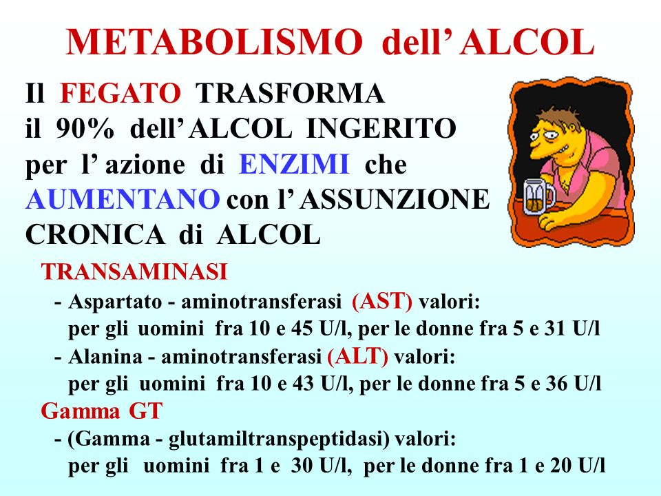 METABOLISMO dell' ALCOL