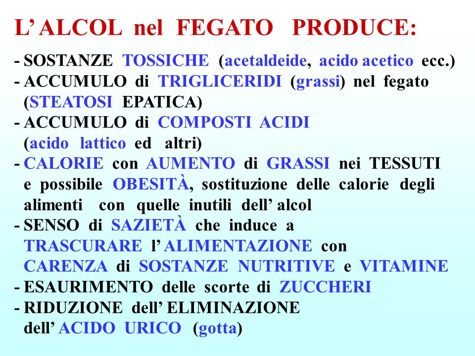 L' ALCOL nel FEGATO PRODUCE: