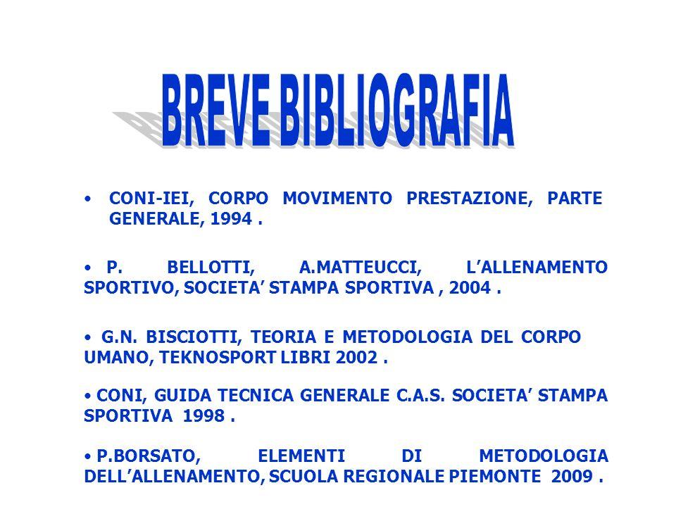BREVE BIBLIOGRAFIA CONI-IEI, CORPO MOVIMENTO PRESTAZIONE, PARTE GENERALE, 1994 .