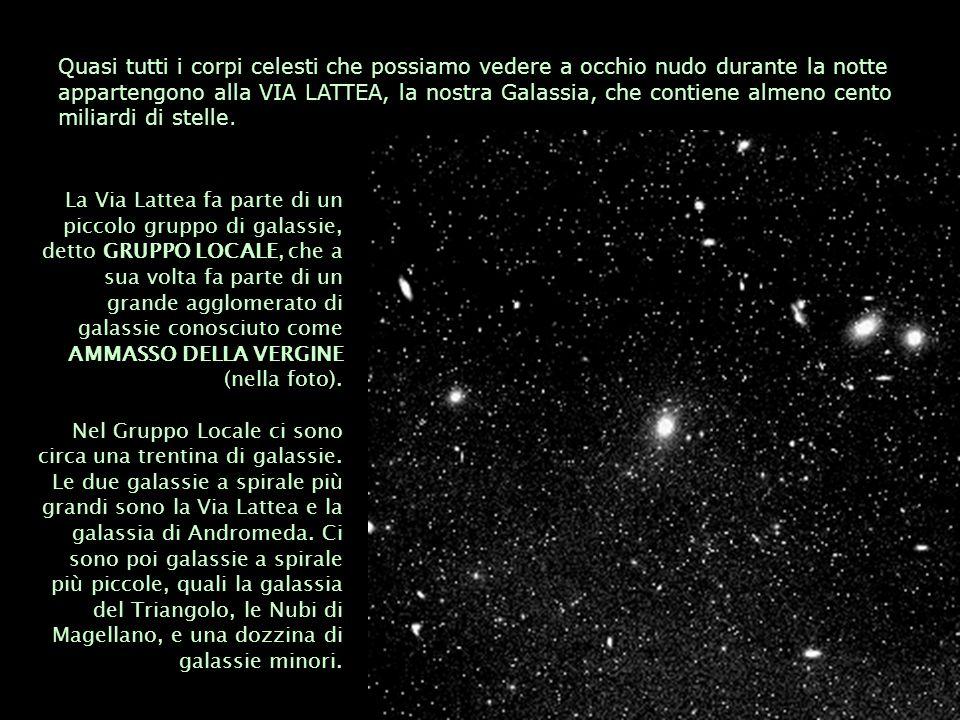 Quasi tutti i corpi celesti che possiamo vedere a occhio nudo durante la notte appartengono alla VIA LATTEA, la nostra Galassia, che contiene almeno cento miliardi di stelle.