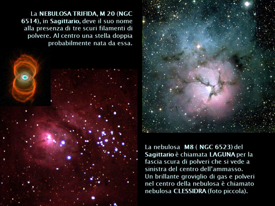 La NEBULOSA TRIFIDA, M 20 (NGC 6514), in Sagittario, deve il suo nome alla presenza di tre scuri filamenti di polvere. Al centro una stella doppia probabilmente nata da essa.
