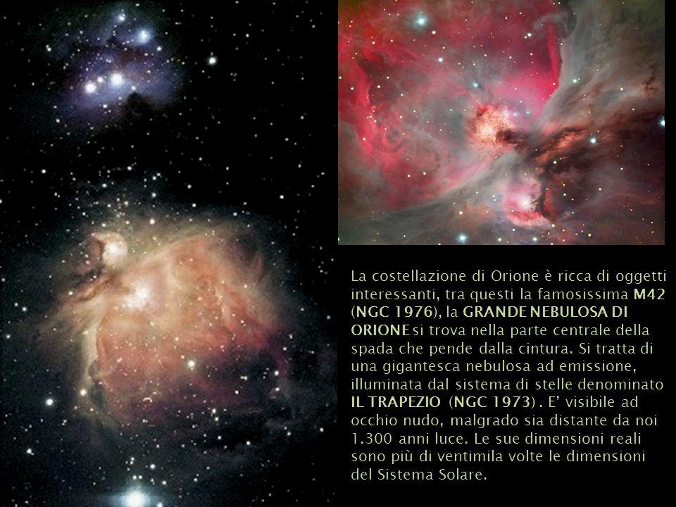 La costellazione di Orione è ricca di oggetti interessanti, tra questi la famosissima M42 (NGC 1976), la GRANDE NEBULOSA DI ORIONE si trova nella parte centrale della spada che pende dalla cintura.