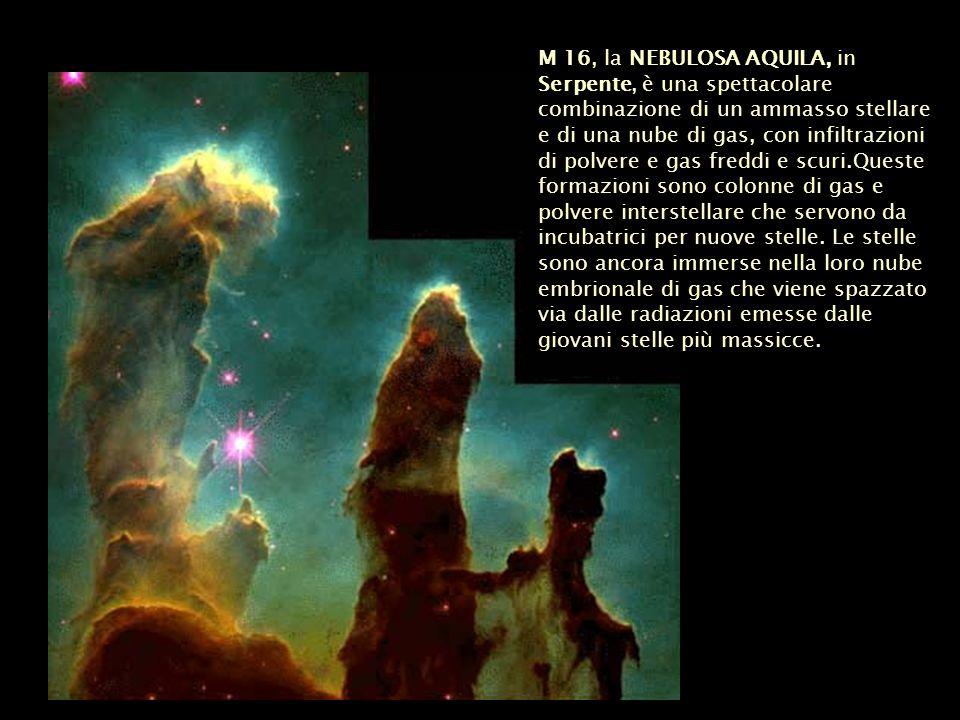 M 16, la NEBULOSA AQUILA, in Serpente, è una spettacolare combinazione di un ammasso stellare e di una nube di gas, con infiltrazioni di polvere e gas freddi e scuri.Queste formazioni sono colonne di gas e polvere interstellare che servono da incubatrici per nuove stelle.