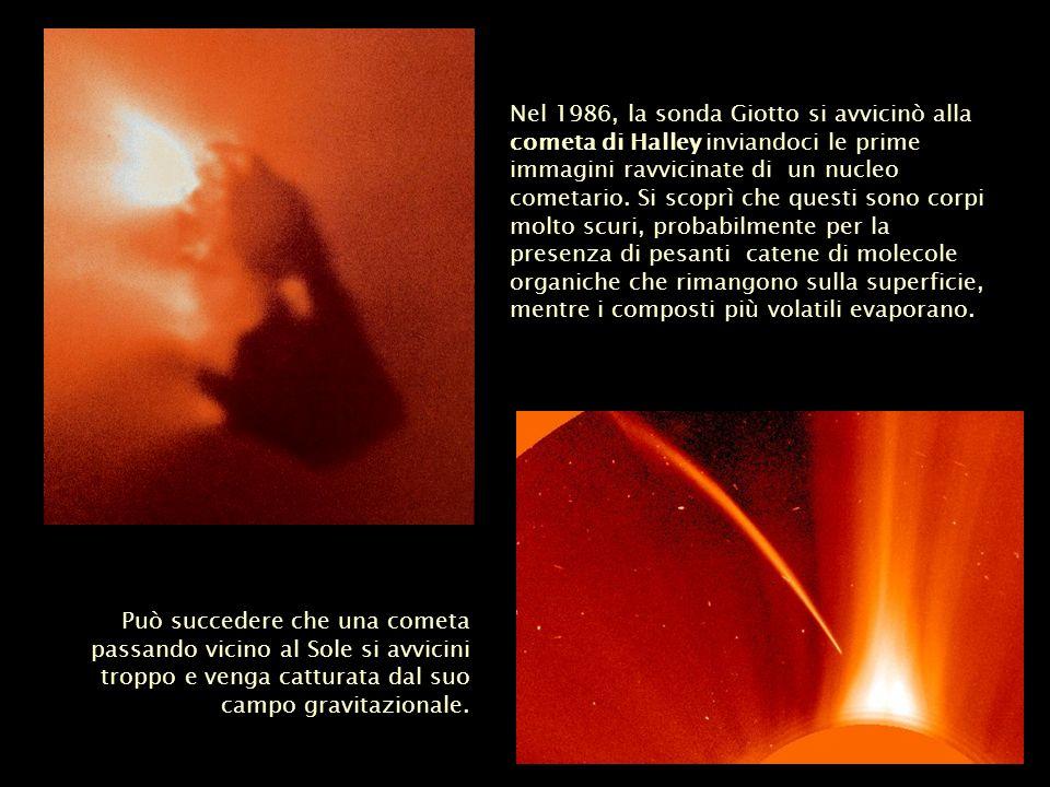 Nel 1986, la sonda Giotto si avvicinò alla cometa di Halley inviandoci le prime immagini ravvicinate di un nucleo cometario. Si scoprì che questi sono corpi molto scuri, probabilmente per la presenza di pesanti catene di molecole organiche che rimangono sulla superficie, mentre i composti più volatili evaporano.
