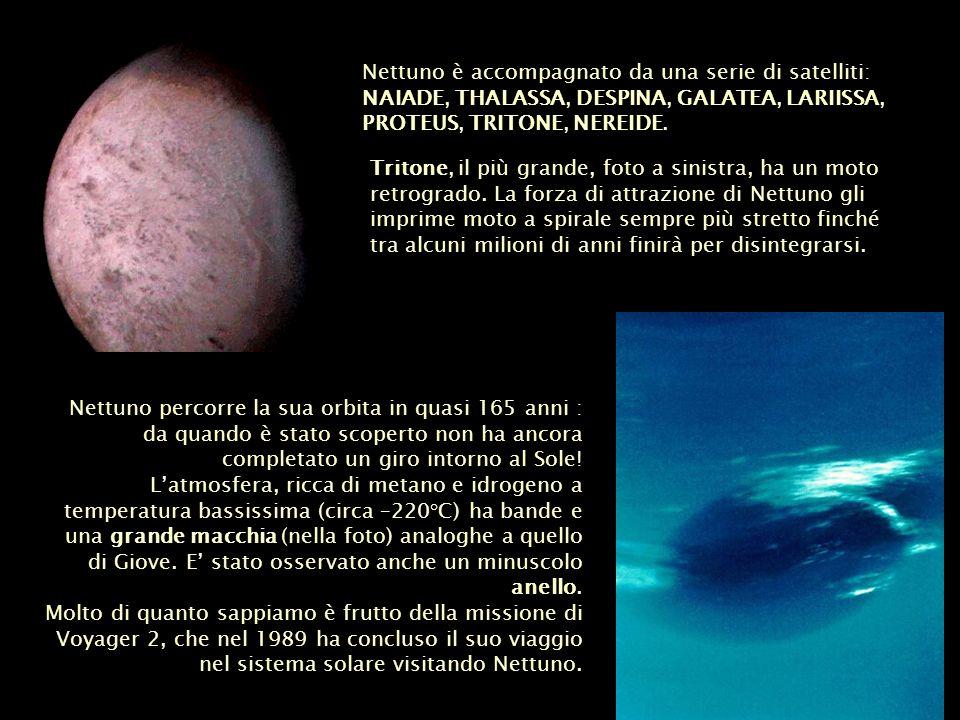 Nettuno è accompagnato da una serie di satelliti: NAIADE, THALASSA, DESPINA, GALATEA, LARIISSA, PROTEUS, TRITONE, NEREIDE.