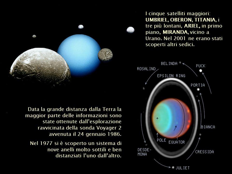 I cinque satelliti maggiori: UMBRIEL, OBERON, TITANIA, i tre più lontani, ARIEL, in primo piano, MIRANDA, vicino a Urano. Nel 2001 ne erano stati scoperti altri sedici.
