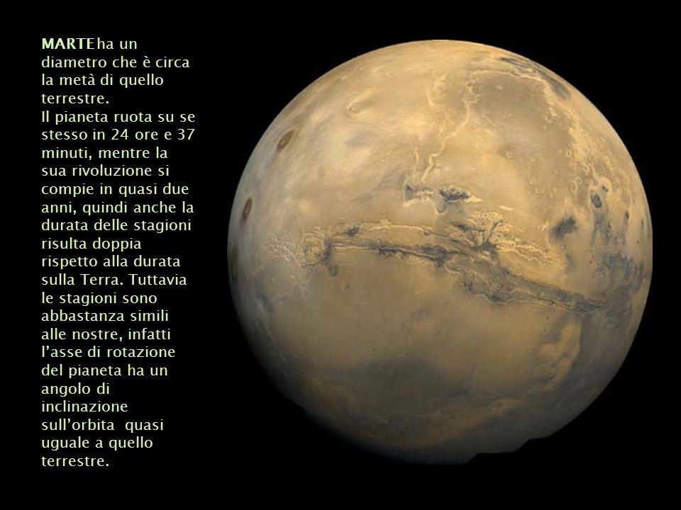 MARTE ha un diametro che è circa la metà di quello terrestre.