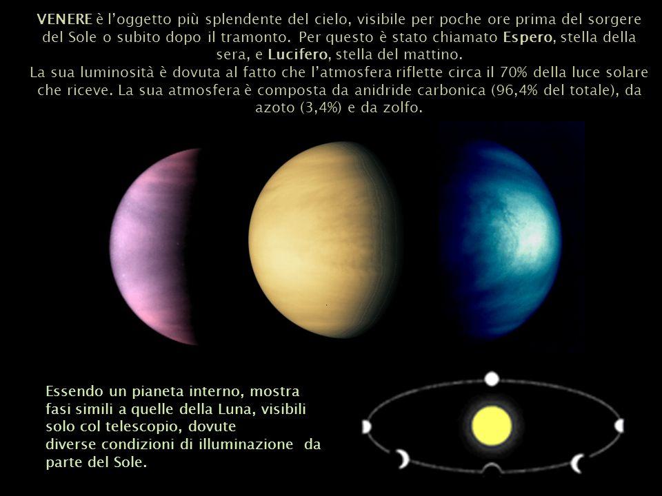 VENERE è l'oggetto più splendente del cielo, visibile per poche ore prima del sorgere del Sole o subito dopo il tramonto. Per questo è stato chiamato Espero, stella della sera, e Lucifero, stella del mattino.