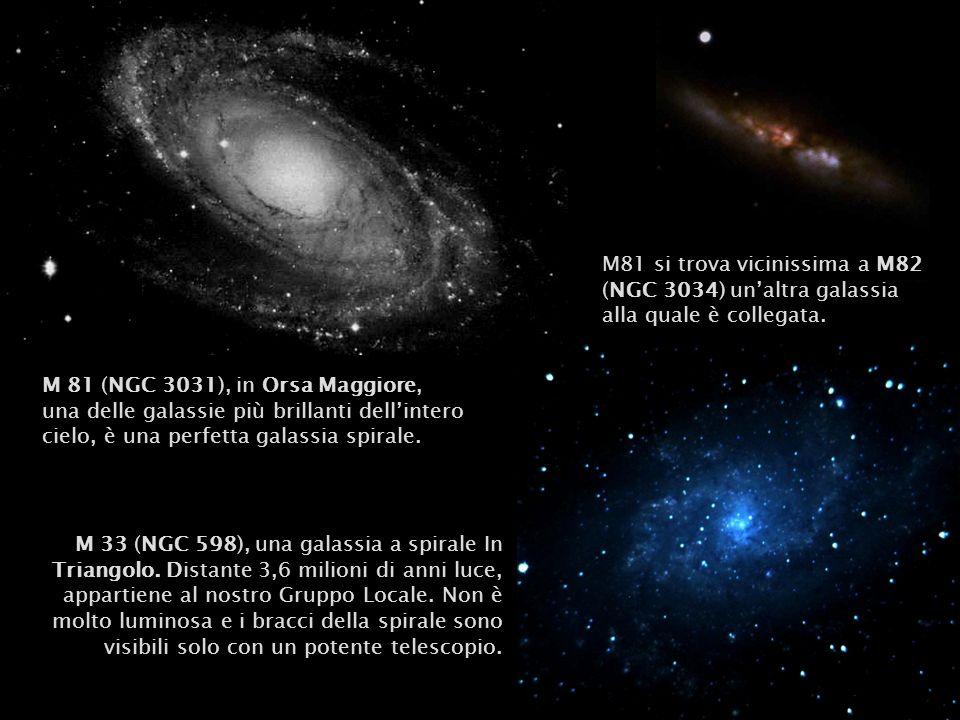 M81 si trova vicinissima a M82 (NGC 3034) un'altra galassia alla quale è collegata.