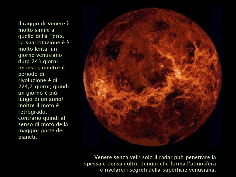 Il raggio di Venere è molto simile a quello della Terra