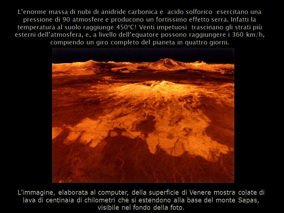 L'enorme massa di nubi di anidride carbonica e acido solforico esercitano una pressione di 90 atmosfere e producono un fortissimo effetto serra. Infatti la temperatura al suolo raggiunge 450°C! Venti impetuosi trascinano gli strati più esterni dell'atmosfera, e, a livello dell'equatore possono raggiungere i 360 km/h, compiendo un giro completo del pianeta in quattro giorni.