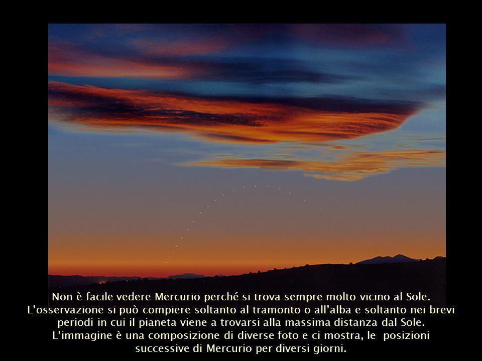 Non è facile vedere Mercurio perché si trova sempre molto vicino al Sole. L'osservazione si può compiere soltanto al tramonto o all'alba e soltanto nei brevi periodi in cui il pianeta viene a trovarsi alla massima distanza dal Sole.