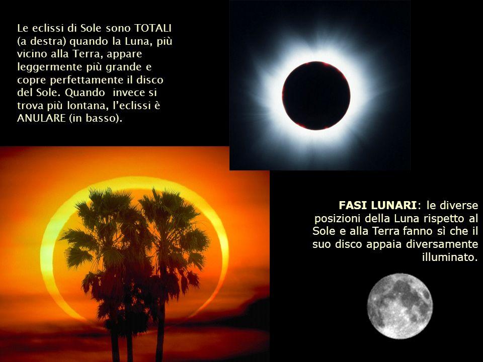 Le eclissi di Sole sono TOTALI (a destra) quando la Luna, più vicino alla Terra, appare leggermente più grande e copre perfettamente il disco del Sole. Quando invece si trova più lontana, l'eclissi è ANULARE (in basso).