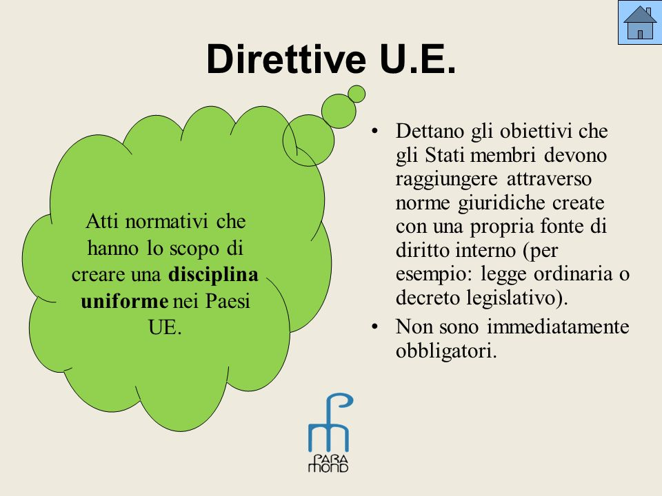 Direttive U.E. Atti normativi che hanno lo scopo di creare una disciplina uniforme nei Paesi UE.