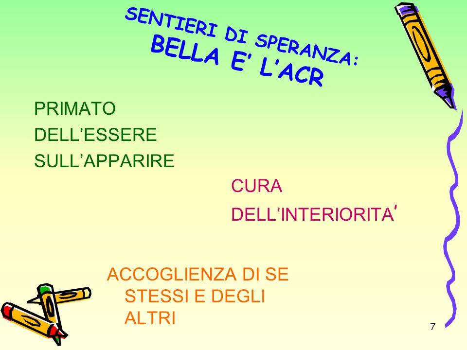 SENTIERI DI SPERANZA: BELLA E' L'ACR