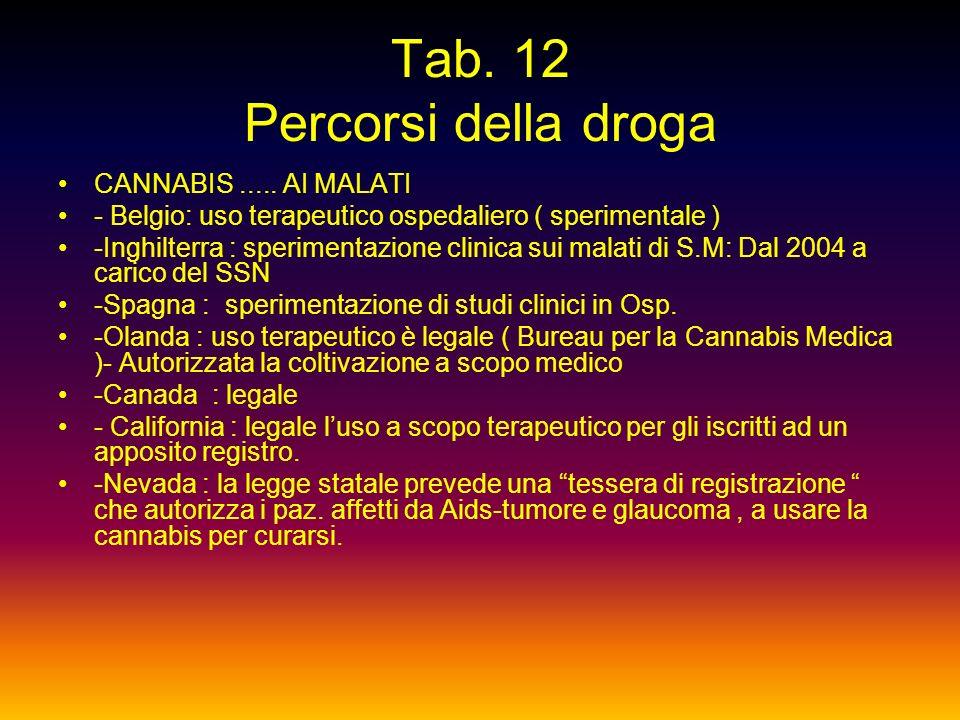 Tab. 12 Percorsi della droga