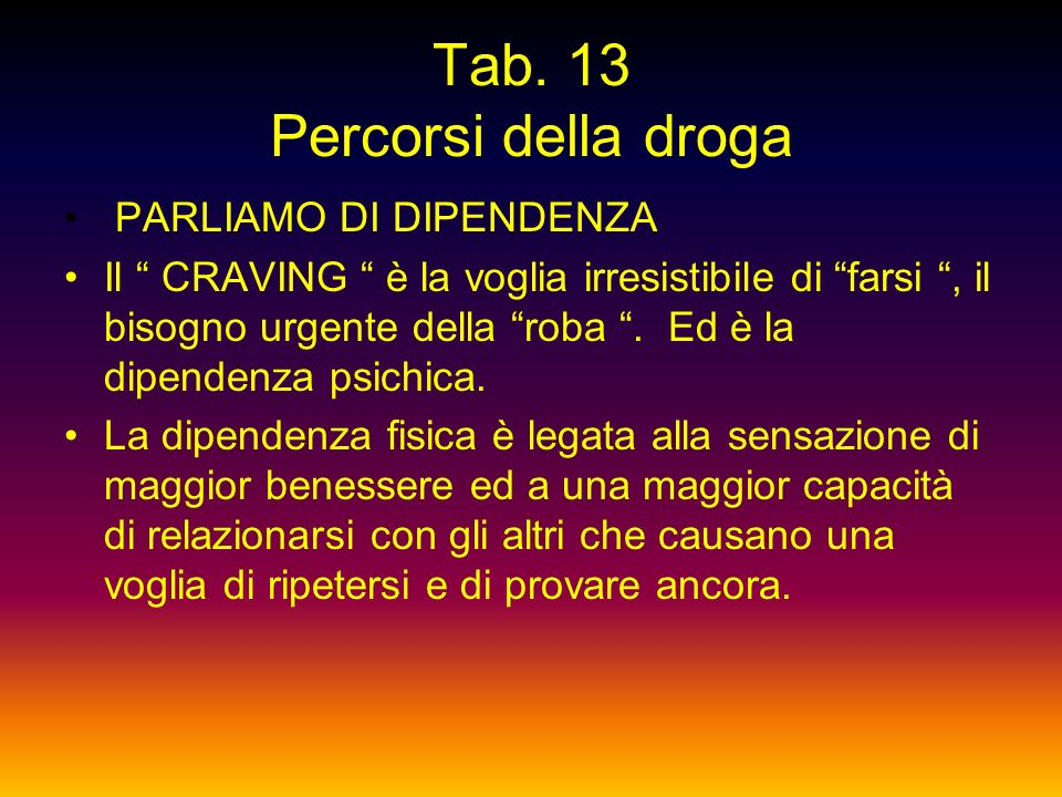 Tab. 13 Percorsi della droga