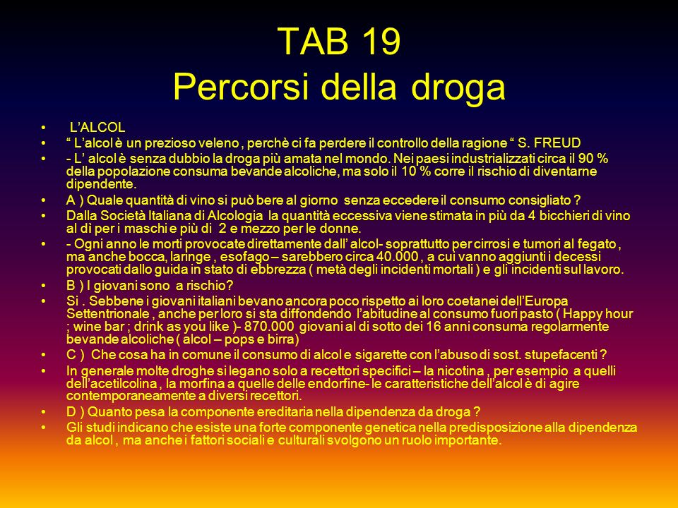 TAB 19 Percorsi della droga