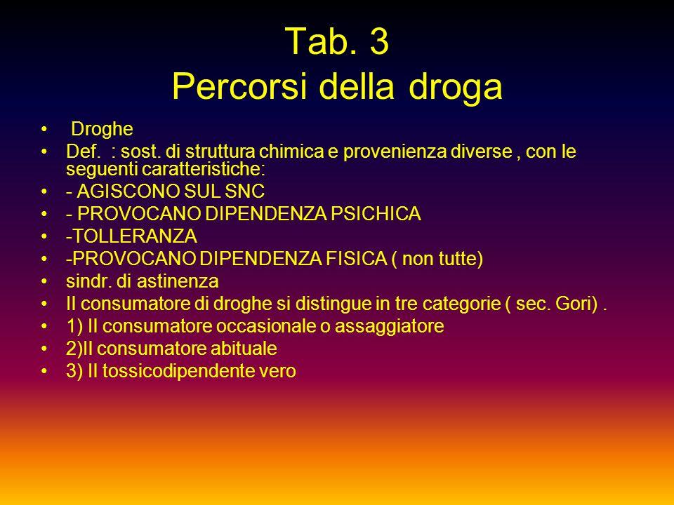 Tab. 3 Percorsi della droga