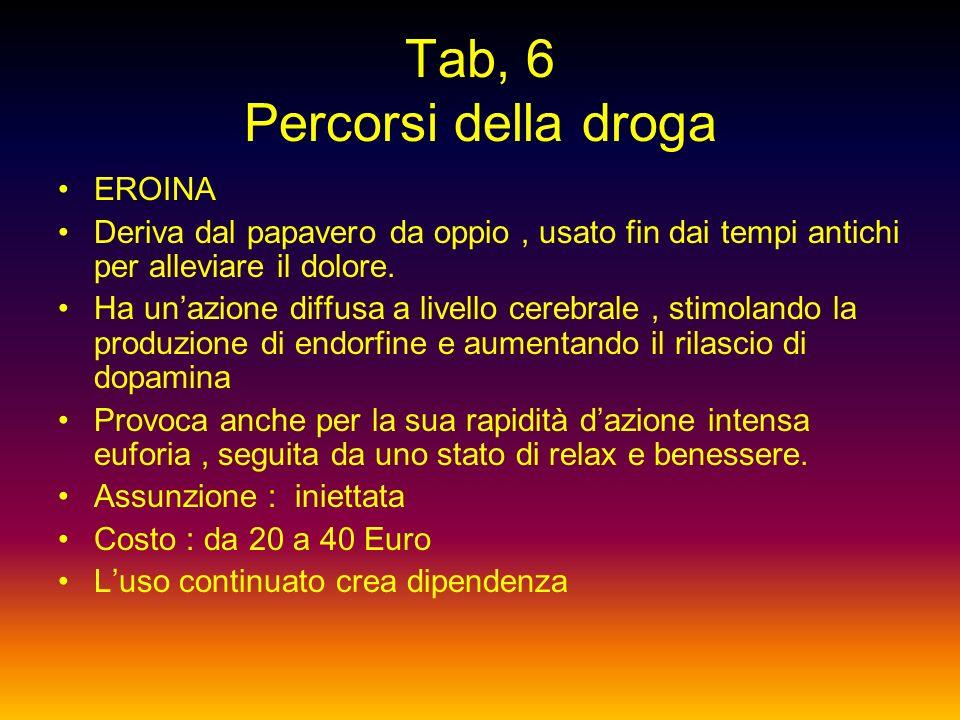 Tab, 6 Percorsi della droga