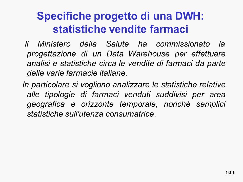 Specifiche progetto di una DWH: statistiche vendite farmaci