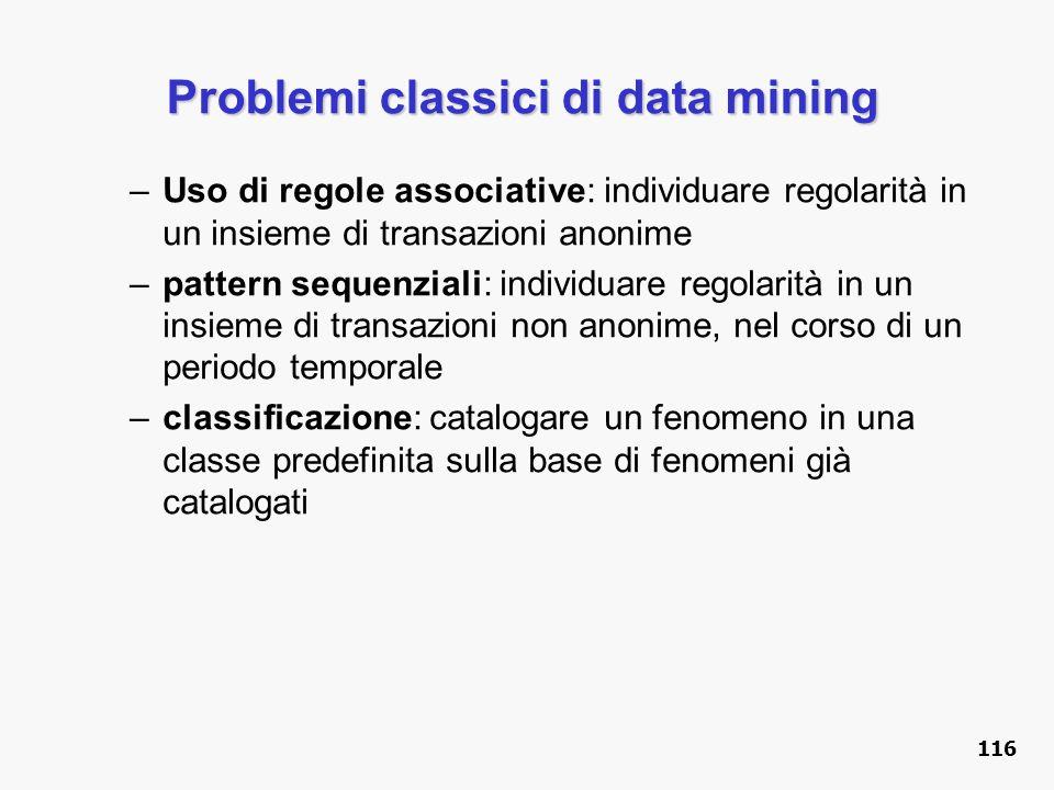 Problemi classici di data mining