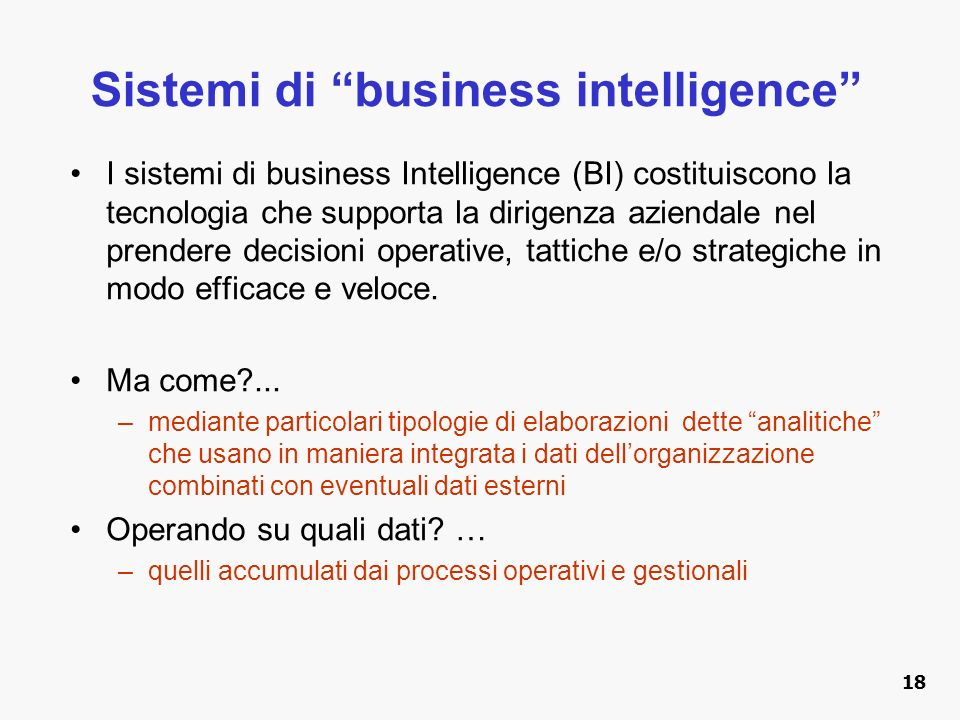 Sistemi di business intelligence